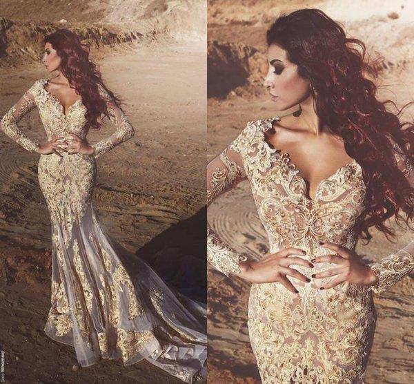 New Sexy V Neck Mermaid Prom Dresses 2018 maniche lunghe in pizzo Appliques Abiti formali Abiti da sera abiti da festa arabi