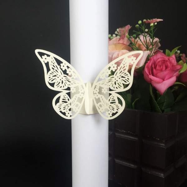 50pcs/lot Free Shipping Laser Cut Wedding Towel Buckle Beautiful Butterfly shape Paper Wedding Decoration Napkin Ring Party Table Decoration