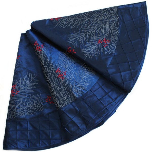 """Wholesale- EXTRA LARGE 36""""/50"""" faux silk berry embroidered deluxe Christmas tree skirt pintuck border BLUE P2739"""
