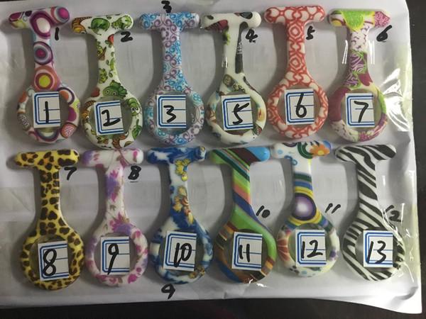Fashion Unisex Nurse Doctor Pin lady Silicone Rubber camouflage quartz watch Zebra Leopard flower Pocket candy watches wholesales 3000pcs