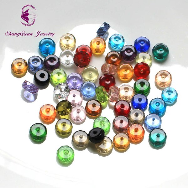 200pcs Multi Color Faceted Crystal Beads Loose Tyre Shape DIY 3A Jewelry Beads 4*8mm SQ3A2348