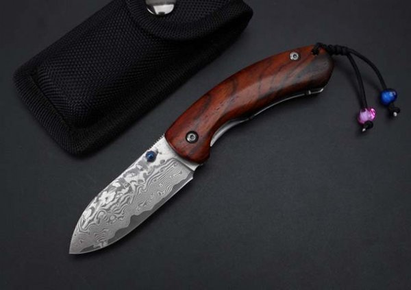 Free shipping Thomas Damascus - strange fish folding knife, high quality pure hand-made, cocobolo wood handle material