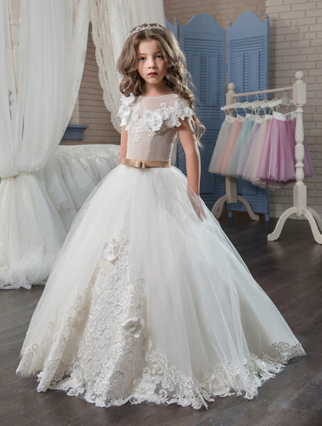 Compre 2018 Elegantes Primeros Vestidos De Comunión Para Niñas Apliques Princesa De Tul Dobladillo De Encaje Niños Graduación Desfile De Comunión