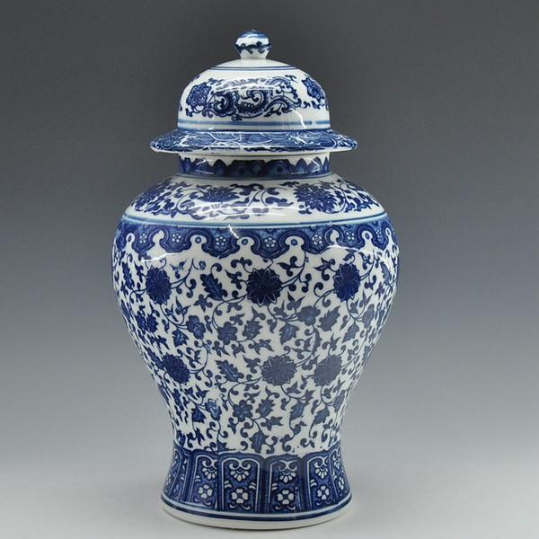 Venta al por mayor- ENVÍO GRATIS chino antiguo Qing Qianlong marca azul y blanco jarra de porcelana de cerámica jengibre Jar