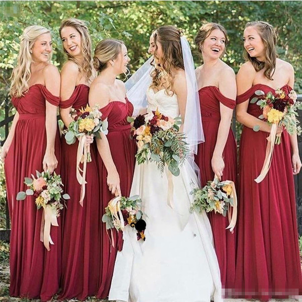 2017 Burgundy Long Bridesmaid Dresses For Weddings Off Shoulder Sweetheart Chiffon Burgundy Dark Red Long Plus Size Maid of Honor Gowns