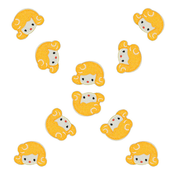 10PCS yellow hair girl embroidery patches for clothing iron fashion patch for clothes applique sewing accessories on clothes iron on patch