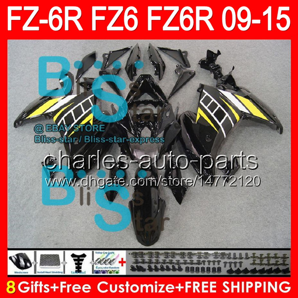 gloss black 8gifts For YAMAHA FZ6R 09 10 11 12 13 14 15 FZ6N FZ6 89NO18 FZ-6R FZ 6R 2009 2010 2011 2012 2013 2014 2015 gloss black Fairing