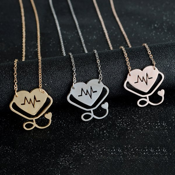 4 styles Rose Gold/Gold/Silver Stethoscope Lariat Heart Pendant Necklace Newest Nurse Medical Nursing Jewelry Medicine Graduation Gift