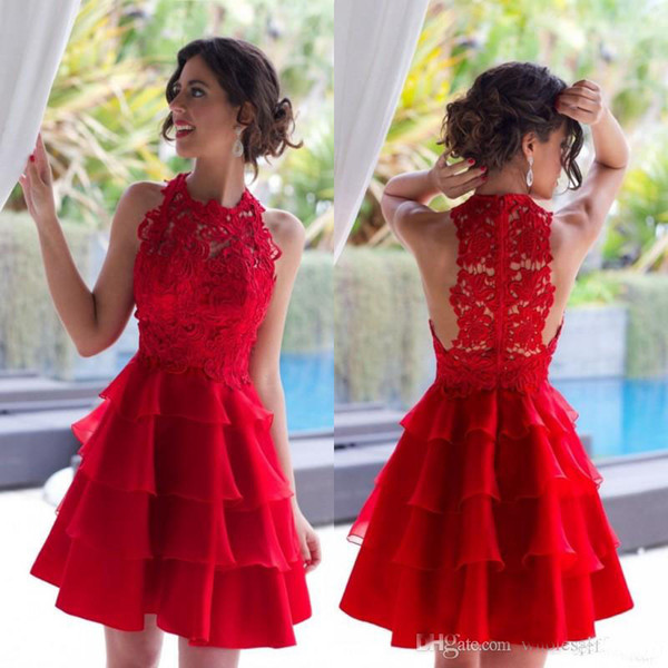 2018 Charming Red Cocktail Dresses Vintage Lace Short Mini Homecoming Gowns Jewel Neck Tiers Organza Knee Length Prom Party Gowns