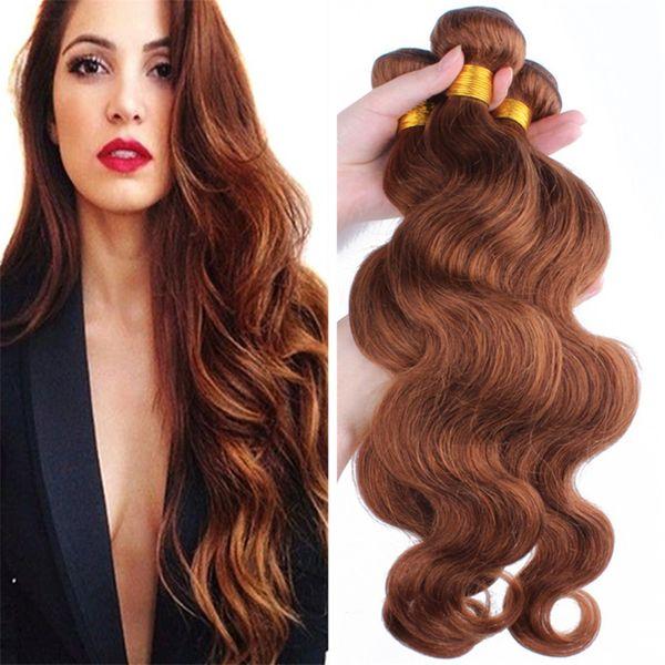 Auburn Body Wave Virgen Hair 3 Bundles Color # 30 Brown cabello humano Weaves 3Pcs Lote Extensiones de cabello brasileño Dhl Free