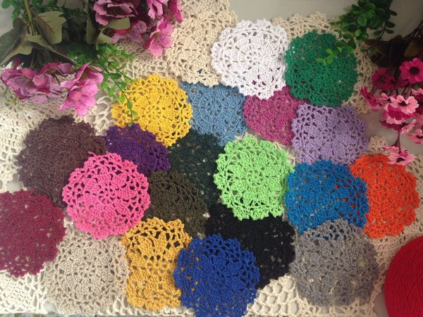 Wholesale-50PCS/Lot Hand Hook Flower Coaster 10CM Lace Flowers Wholesale Handmade Doily Crocheted Cup Mat Round Placemats