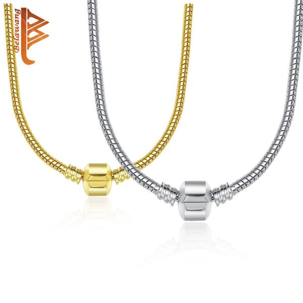 BEWANG 44cm 2 Farben 925 versilbert Halskette Schlangenkette mit Verschluss passen europäischen Charme Perlen Halskette DIY Schmuck machen SilverGold