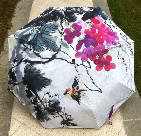 2017 New Novelty Items Oil Painting Arts Umbrella Rain women Creative Famous Brand Mujer Paraguas Anti-UV Fashion purple grapes parasol