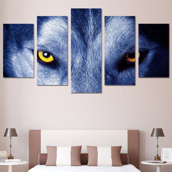 5 Panels HD Printed Wolf Eyes Group Painting Canvas Print room decor print poster picture canvas