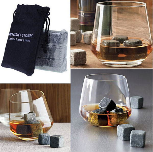 top popular High Quality Natural Whiskey Stones Whisky Stones Cooler Whisky Rock Soapstone Ice Cube With 9 pcs set TA180 2021