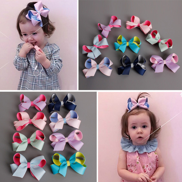 12Pcs Girls 8.5-9CM Double Color Hair Bows With Clip Boutique Safe Barrette Hair Clip Hairpin Baby Hair Accessories Beautiful HuiLin B12