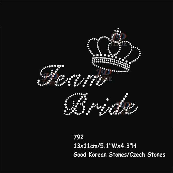 30pcs/lot Wedding Team Bride With Crown Hen Party Rhinestone Diamante Iron On Bling T Shirt Transfer Motif