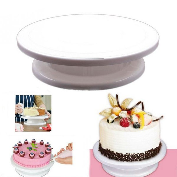 New DIY Cakes Decoration Turntable Manually Rotating Round Shaped Cake Mounting Pattern Tool E2shopping