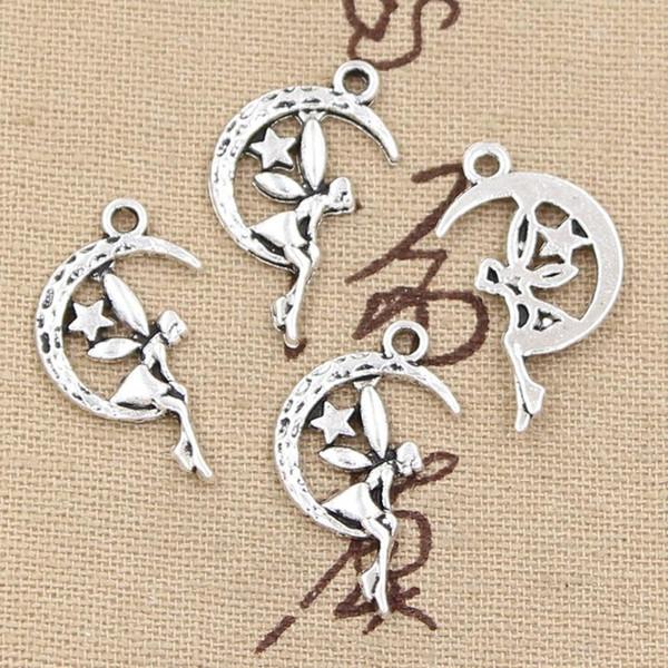 All'ingrosso-99Cents 12pcs Charms fata angelo stella di luna 25 * 14mm Antique Making pendente fit, Vintage argento tibetano, collana braccialetto fai da te