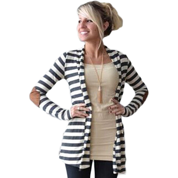 Wholesale- 2016 Autumn Cardigan Women Elbow Patch Long Sleeve Shawl Collar Striped Open Front Cardigans Sweater Knitted Jackets Womens Coat