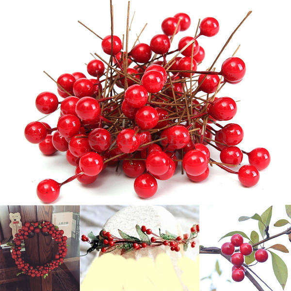 Wholesale-90pcs/Lot Red Christmas Artificial Fruit Berry Holly Flowers Pick DIY Craft Home Wedding Xmas Party Decoration Tree Ornament