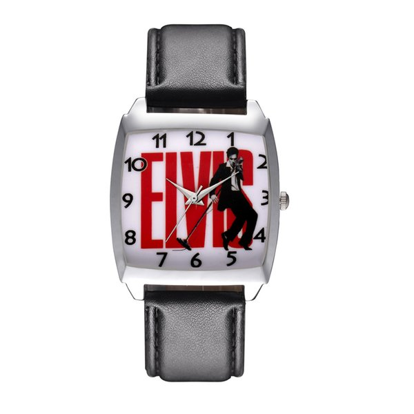zichen080514 / Cartoon Boy women's girl children students Elvis Presley Rectangle dial Black leather strap quartz wrist watch 09