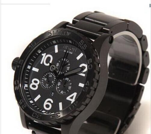 New NX Mens 51-30 Chrono A083-001 A083001 Alle schwarzen Edelstahl Quarzuhr 51mm wasserdicht Uhren + Originalverpackung