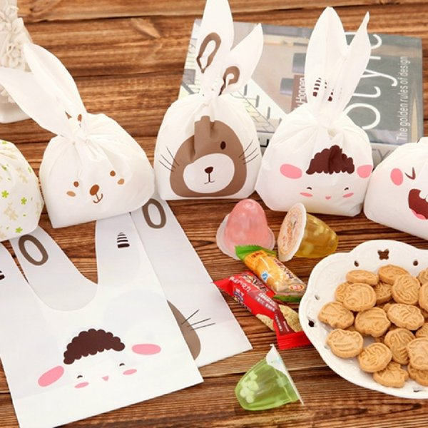 50pcs/lot Cute Rabbit Ear Cookie Bags Self-adhesive Plastic Bags for Biscuits Snack Baking Package Food Bag Home Party Gift Bags