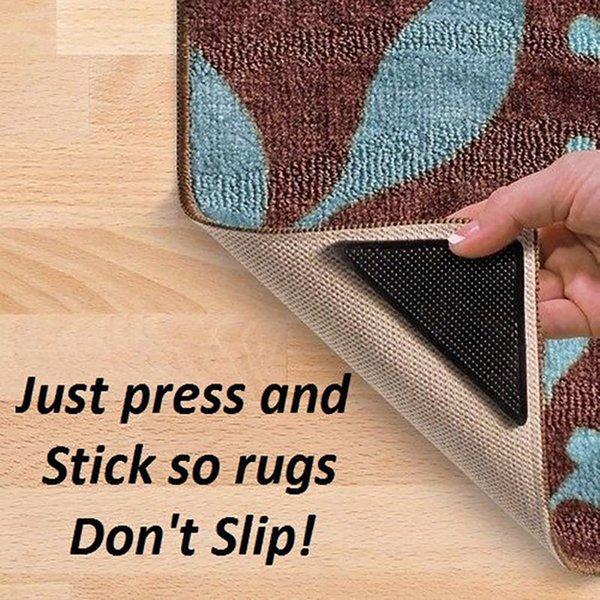 Wholesale- 4pcs Utile lavabile in silicone Grip Tappeto Tappetino con pinze antiscivolo Uso domestico riutilizzabile