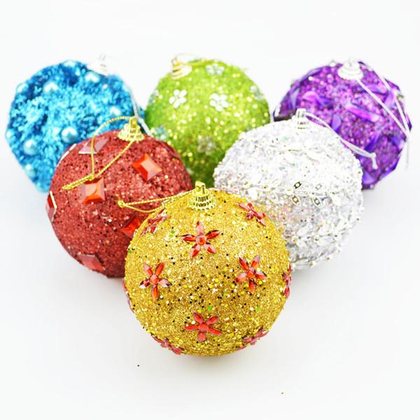En gros-6pcs 8cm boule de noël arbre babiole pendaison ornement décorations boules de noël maison fête vacances noël arbre pendentif boules