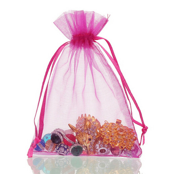 13x18 cm Organza Bag Jewelry Pouch Candy Bags Drawstring Organza Pouch Wedding Favor Gift Multi Colors 5.1*7 inch 50 Pcs Pack