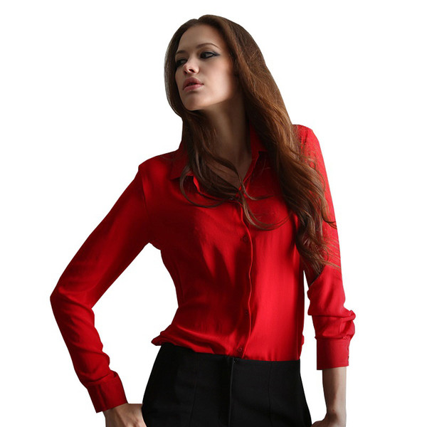 Blusas Femininas 2017 Women Shirt Chiffon Tops Elegant Ladies Formal Office Blouse 5 Colors Work Wear Plus Size
