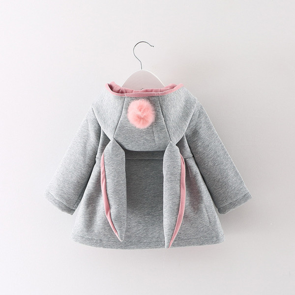 Girl Coat Cute Rabbit Ear Hoodies Autumn Winter Warm Kids Jacket Outerwear Children Clothing Baby Tops 3 Colors