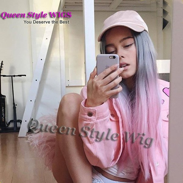 Synthetic Two tone Grey Ombre Pastel pink color None lace/ Lace Front Wig Trendy Straight Heat Resistant hair wigs for fairy lady