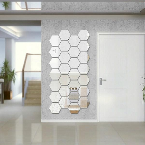 Modern Creative 3D Silver Mirror Geometric Hexagon Acrylic Wall Bedroom Living Room Stickers Decor DIY Gift