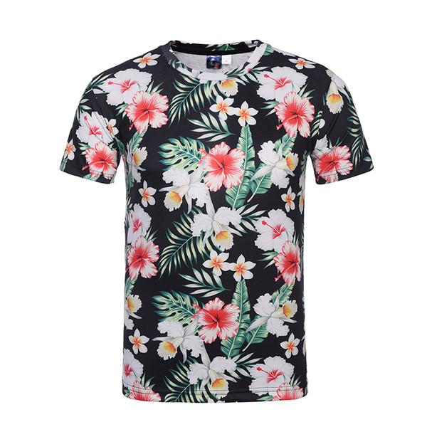 Camisetas de hombre con estampado de flores camiseta 3d de los hombres base negra M ~ 4XL más tamaño hombre camiseta playeras de verano tops camiseta BL-002