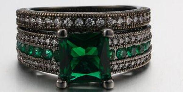 Luxury Black Gold Double Set Green Square Zircon Micro 14K Black Gold Ring