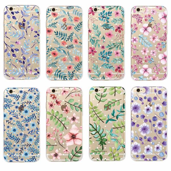 Mode Vintage Floral Plante Feuilles Fleur Doux Clair Téléphone Case Coque Fundas Pour iPhone7 7 Plus 6 6S 6 Plus 8 8PLUS X SAMSUNG