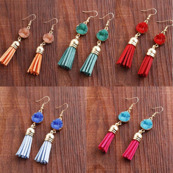 7 Color Delicat Tassel Earrings Boho Bohemian Short Charm Agate Dangling Earrings for Women Vintage Accessories Multicolor Jewelry D202S