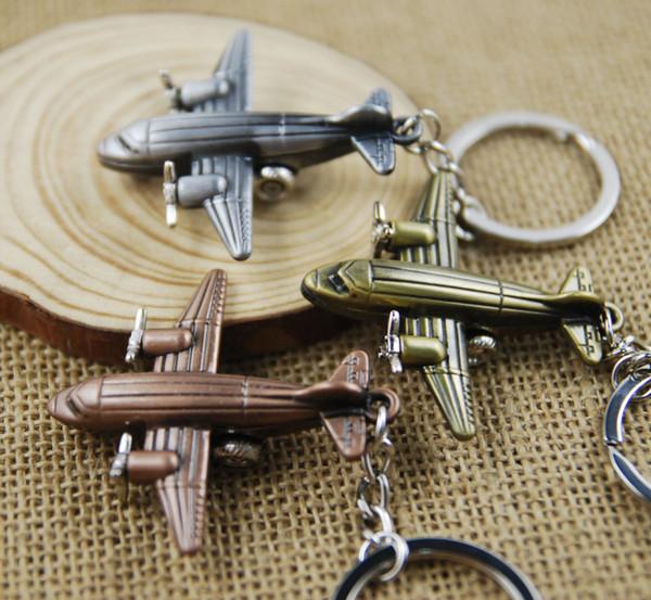 Fashion Mini 3D Airplane Keychain Aircraft Pendant Keyring Keyfob Small Plane Key Chain Cute Christmas Gift 3 Color C14L