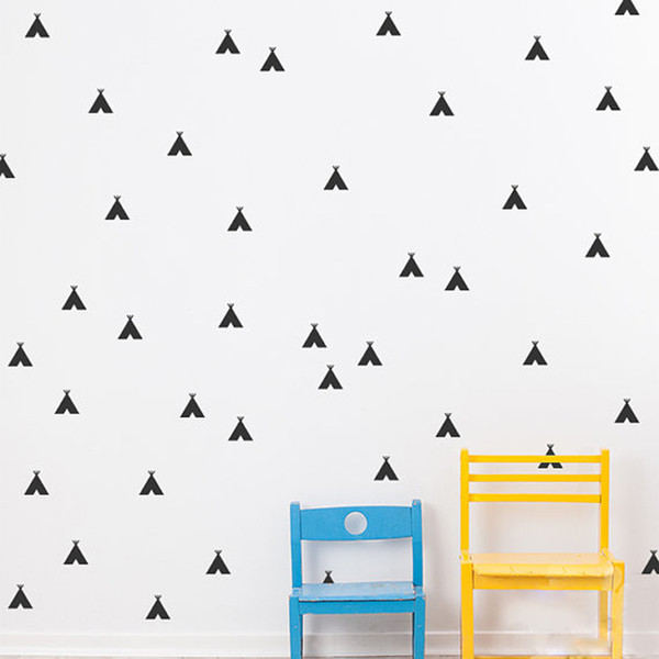 54 pieces/lot Nursery Decor Cartoon Teepee Wall Stickers for Kids Black/Gold/Silver Removable Waterproof Tents Wall Decals Room Accessories