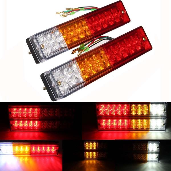 best selling 2x 20-LED Car Truck LED Trailer Tail Lights Turn Signal Reverse Brake Light, Stop Rear Flash Light Lamp, DC12V Red-Amber-White, Waterproof I