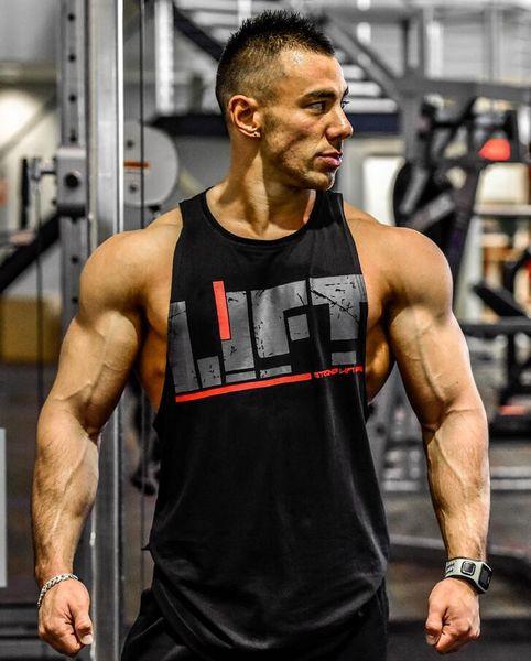 Mens Lift Letter Print algodón Tank Tops aeróbicos ropa masculina Active Workout Tops sin mangas Sports Gym chalecos camiseta