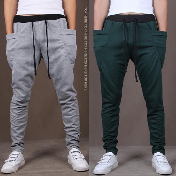 Nuevos Hombres Joggers Moda Harem Pants Pantalones Hip Hop Slim Fit Pantalones de chándal Hombres para Jogging Dance 8 Colores pantalones deportivos M ~ XXL