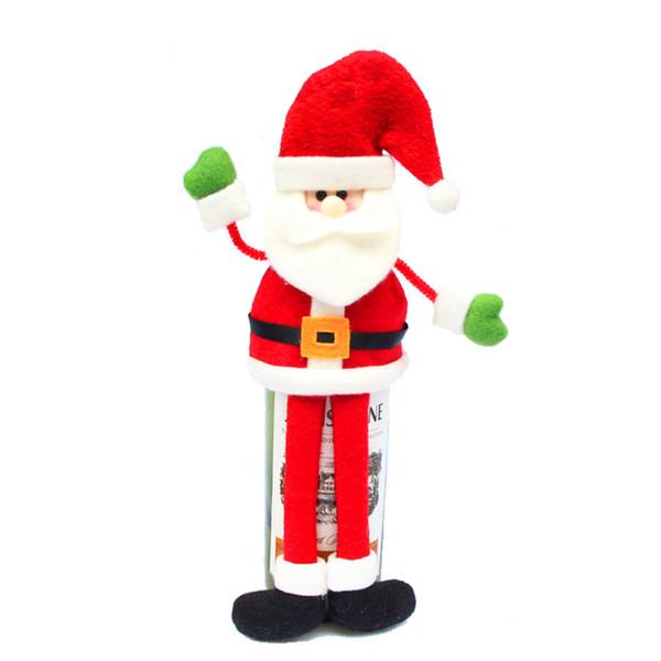 All'ingrosso-Felice Anno nuovo Decorazione di Natale Forniture Vino rosso Copertura della bottiglia Decorazione Ornamento Dinner Party Decorazioni da tavola Regali JJ932
