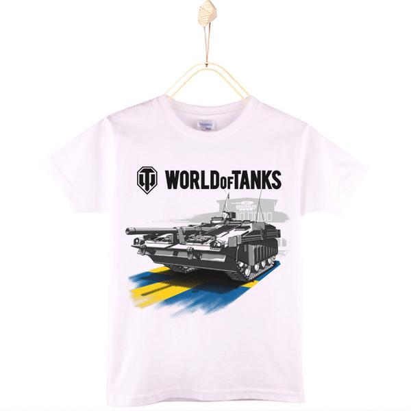 2017 World Of Tanks Print Child T-shirt Cotton White O-Neck Boys Short Sleeve T Shirts Girls Tops Baby Tshirt Kids Clothes Shirt