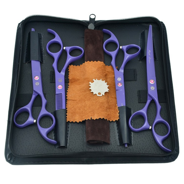 7.0Inch Purple Dragon Professional Pet Scissors for Dog Grooming Cutting Scissors & Thinning Scissors Curved Shears Puppy Supplies, LZS0373