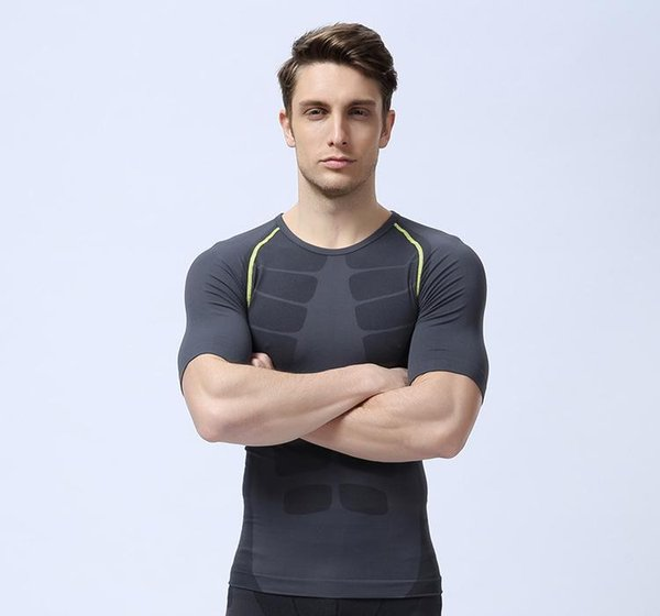 men compression tights base layer running Fitness shirt Excercise cycling soccer short sleeve shirt gym jersey