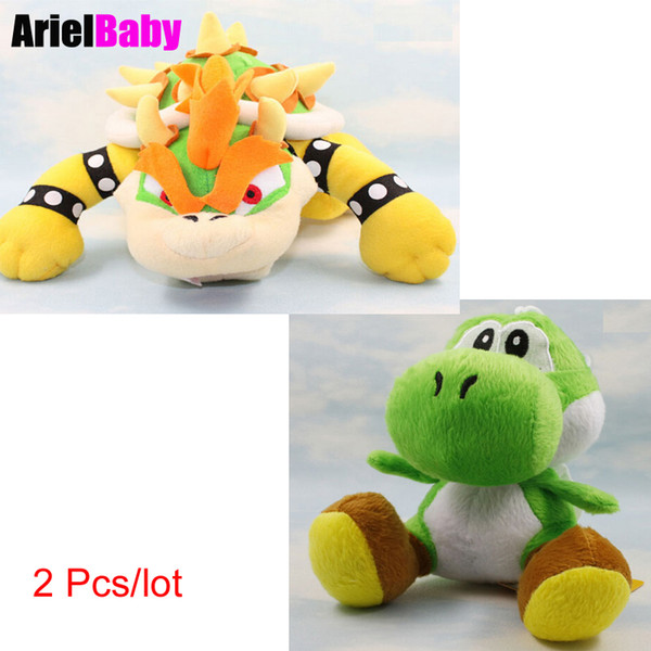 "New 2 PCS/Set Super Mario Dragon Bowser Koopa with Green Yoshi Sitting Soft Stuffed Plush Doll Kids Toys Approx 7"" 10"""