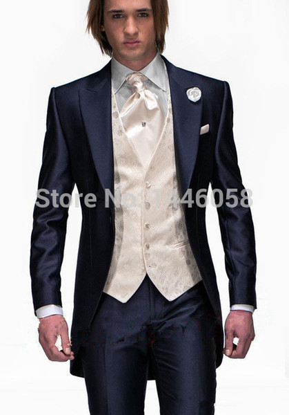 Wholesale- 2017 Tailcoat Morning Style Mens Wedding Suits Navy Blue Groom Tuxedos Wedding Tuxedos Groomsmen Suit 3 Piece Best Men Suit